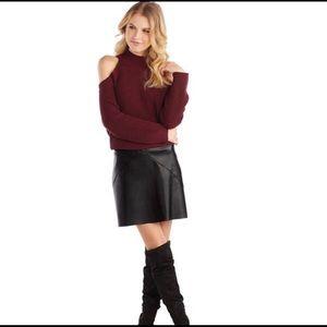 HP🎉 NWT Mudpie Faux Leather Black Mini Skirt L